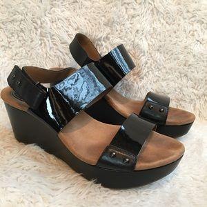 Clark's black wedges straped open toe sandals